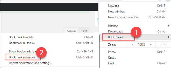 """Hover over """"Bookmarks"""" and select """"Bookmark Manager."""""""