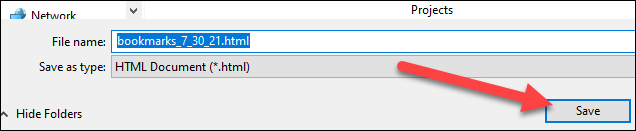 """Choose a location and """"Save"""" the file."""