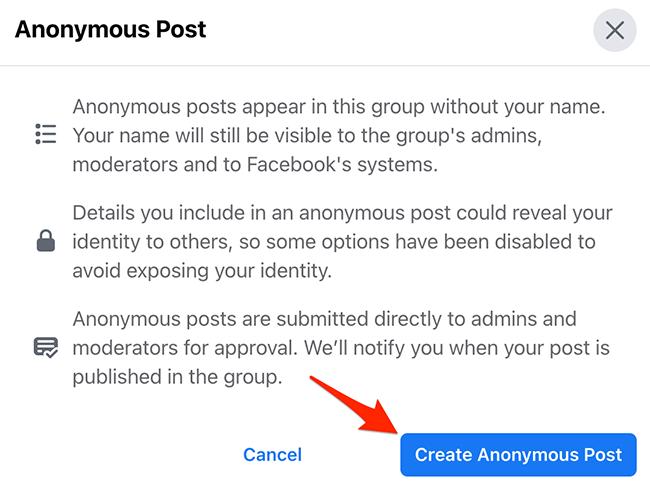 """Clique em """"Criar postagem anônima"""" na janela """"Postagem anônima"""" no site do Facebook."""