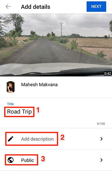 """Insira os detalhes do vídeo na página """"Adicionar detalhes"""" no aplicativo do YouTube."""
