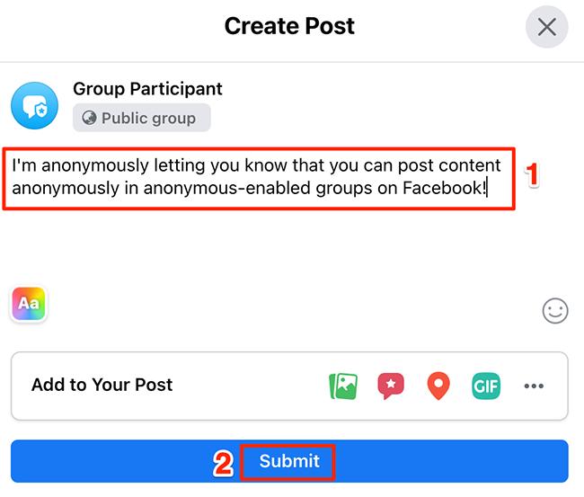 """Escreva uma postagem e clique em """"Enviar"""" na janela """"Criar postagem"""" do site do Facebook."""