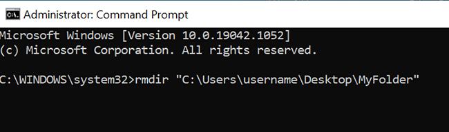 """Use o comando """"rmdir"""" para excluir uma pasta do prompt de comando."""