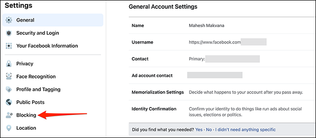 """Select """"Blocking"""" on the """"General Account Settings"""" page of the Facebook site."""