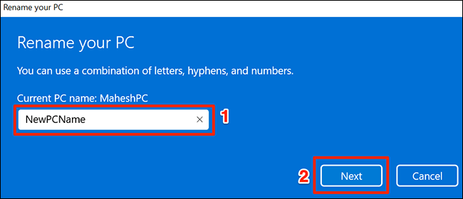 """Enter a new PC name and click """"Next."""""""