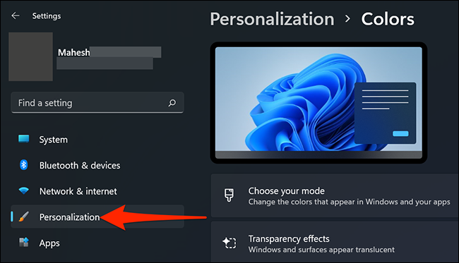 """Click """"Personalization"""" in Settings on Windows 11."""