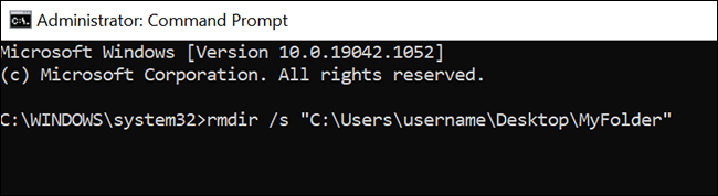 """Use o comando """"rmdir / s"""" para excluir uma pasta e todas as suas subpastas e arquivos do prompt de comando."""