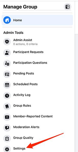 """Selecione """"Configurações"""" em """"Ferramentas de administração"""" para um grupo no site do Facebook."""