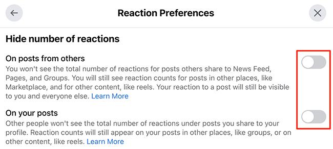 """Oculte contagens semelhantes usando a janela """"Preferências de reação"""" no site do Facebook."""