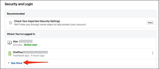 """Select """"See More"""" on the """"Security and Login"""" page on the Facebook site."""