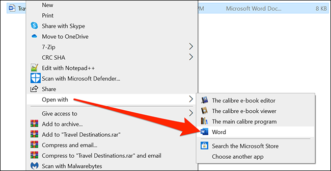 Right-click the document and select Open with > Word.