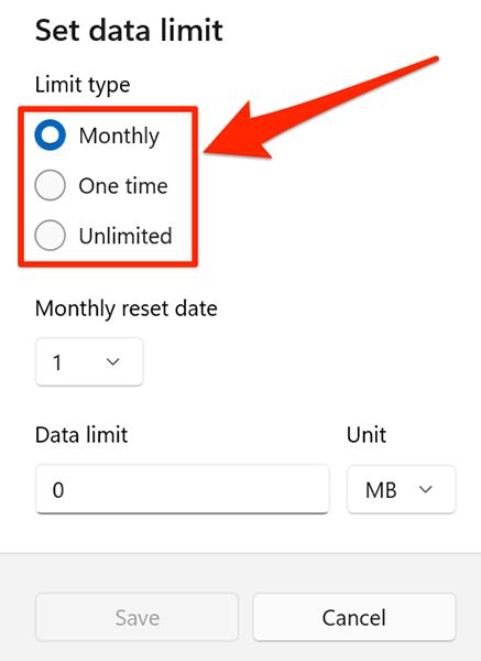 Select a data limit option on Windows 11.