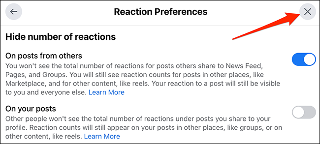 """Clique no """"X"""" na parte superior da janela """"Preferências de reação"""" no site do Facebook."""
