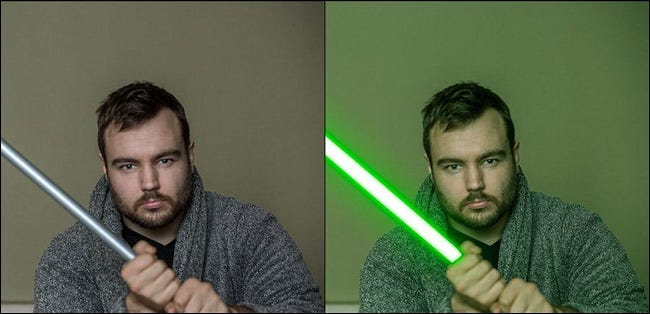 Before and after comparison of the lightsaber digital effect