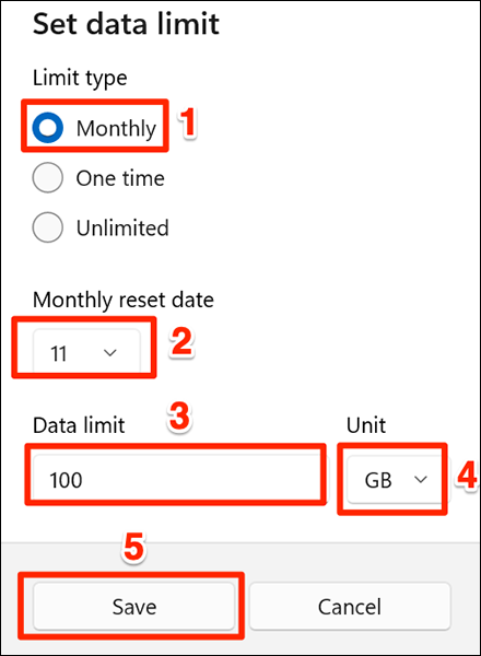 """Select the """"Monthly"""" data limit option in Settings on Windows 11."""