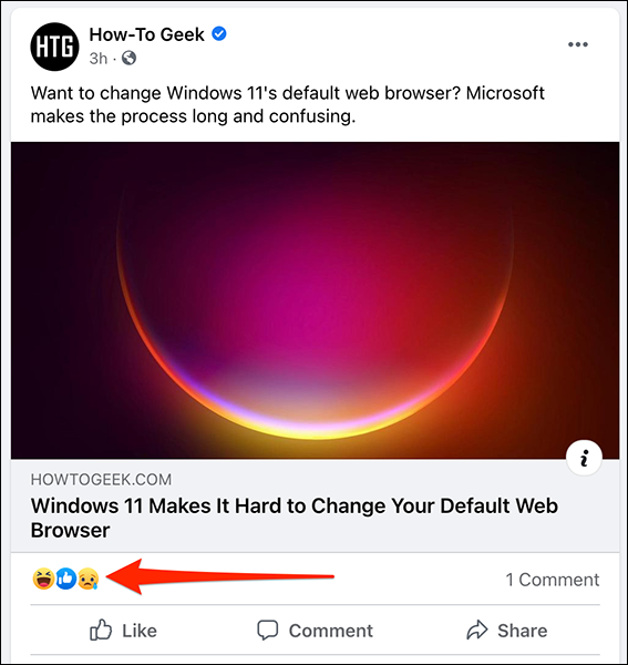 Uma postagem no Facebook sem contagem de curtidas.