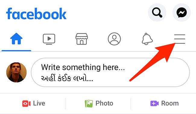 Tap the three horizontal lines menu in the Facebook app.
