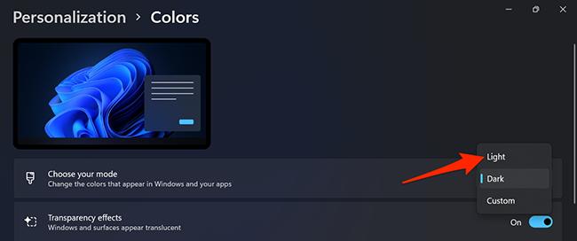 "Select ""Light"" in Settings on Windows 11."