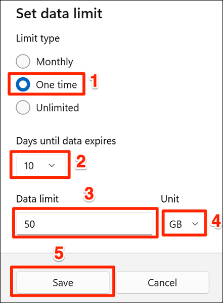 """Select the """"One Time"""" data limit option in Settings on Windows 11."""