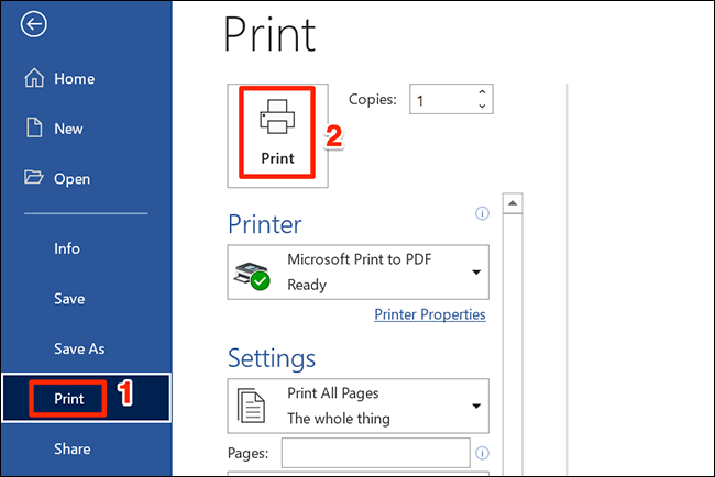 """Select """"Print"""" to print a Word document."""