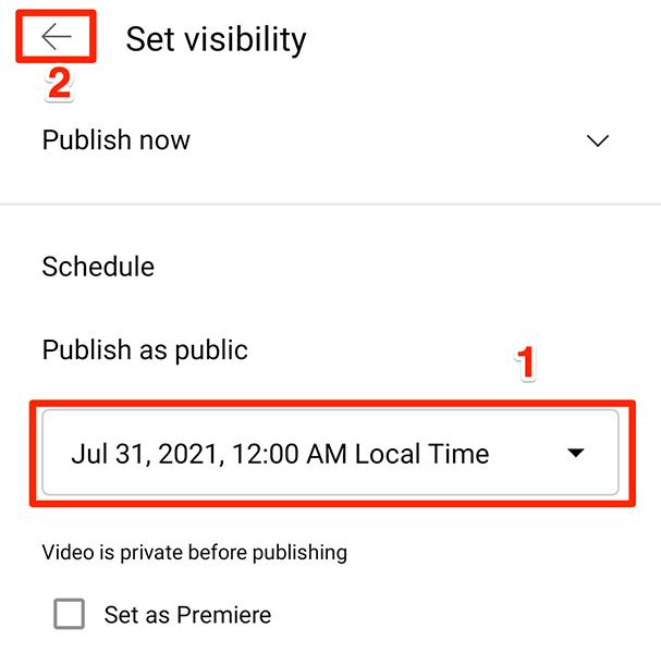 Especifique a data e hora de lançamento programado do vídeo no aplicativo do YouTube.