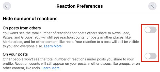 """Reexibir contagens de curtidas na janela """"Preferências de reação"""" no site do Facebook."""