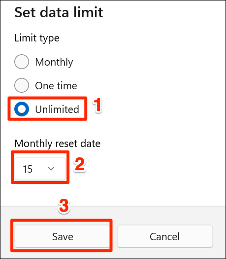 """Choose the """"Unlimited"""" data limit option in Settings on Windows 11."""