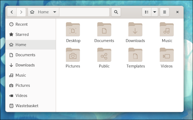 File browser with rounded corners