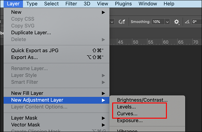 creating an adjustment layer