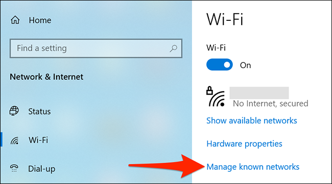 """Select """"Manage Known Networks"""" on the """"Wi-Fi"""" page."""