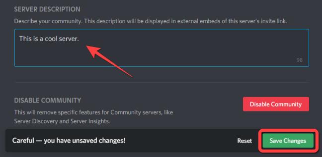 """Under the """"Server Description"""" section, add a description about your Community Server."""