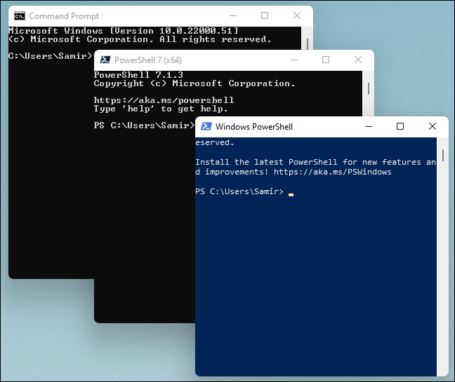 Command Prompt, PowerShell, and Windows PowerShell open in separate windows.