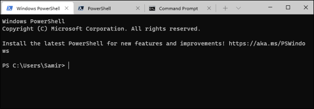 CMD, PowerShell, and Windows PowerShell open in tabbed interface using Windows Terminal.