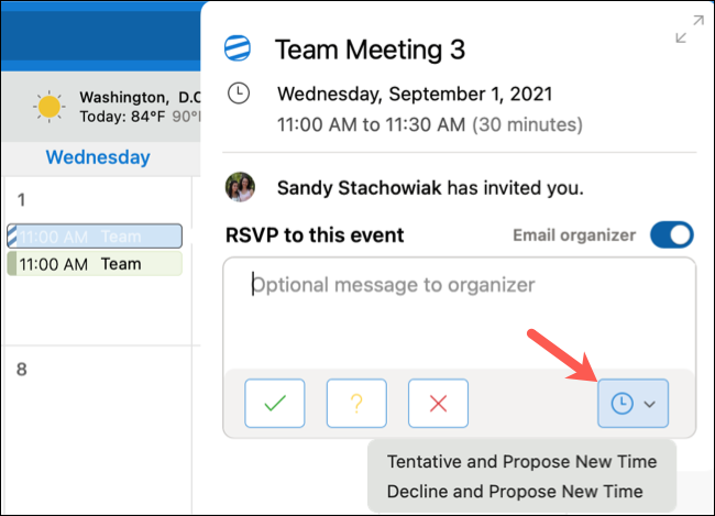 Click Propose New Time in the Outlook calendar