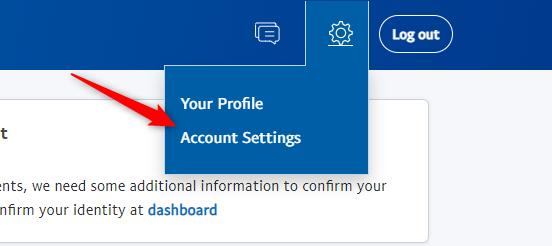 "Click ""Account Settings"" in the drop-down menu."