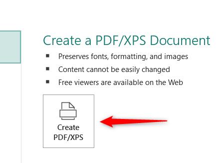 Click Create PDF or XPS