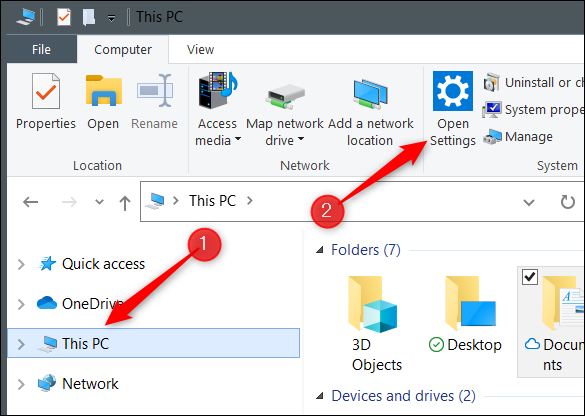 """Click """"This PC"""" and then """"Open Settings."""""""