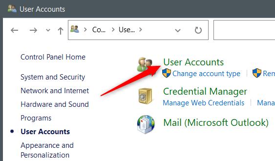 """Click """"User Accounts"""" again."""
