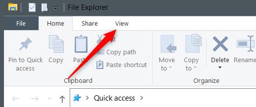 "Click ""View"" in File Explorer."