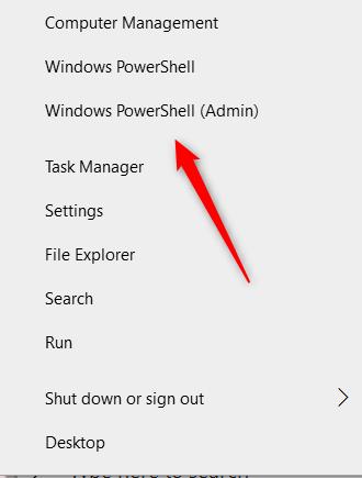 Click Windows PowerShell Admin