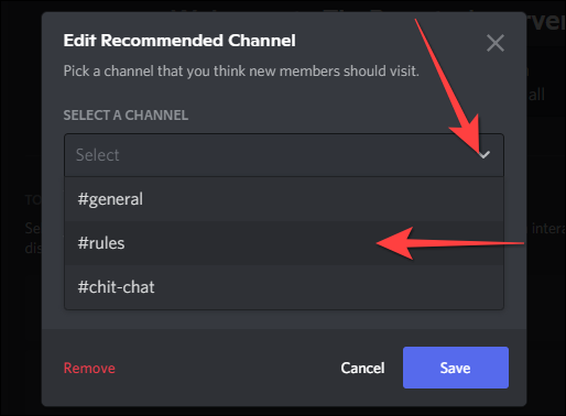 """Use the drop-down to select the """"Rules"""" channel."""
