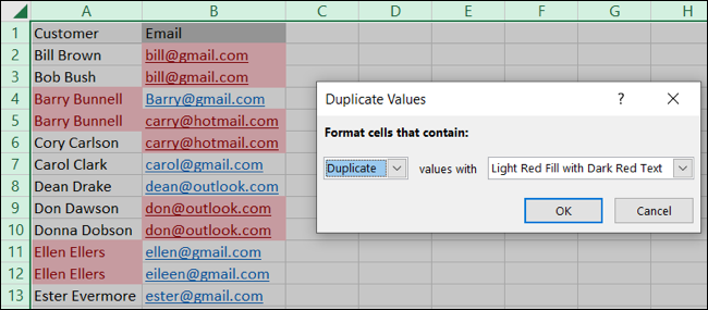 Conditional formatting defaults for duplicates