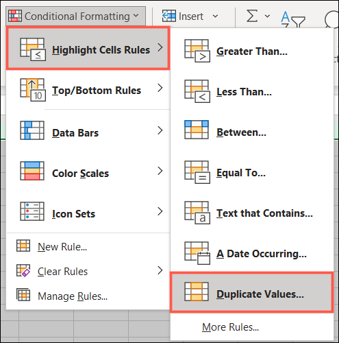 Click Conditional Formatting, Highlight Cell Rules, Duplicate Values