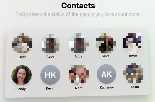 Contacts widget on iPad
