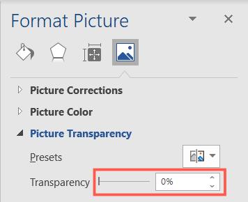 Set Transparency to zero