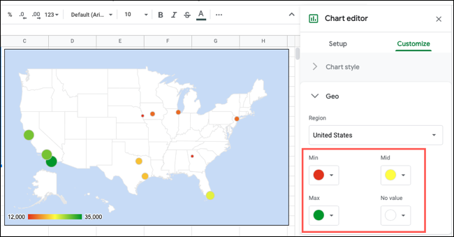 Customize the chart geo style in Google Sheets