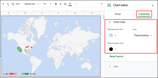 Customize the chart style in Google Sheets