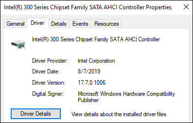 Locate driver tab and then click driver details