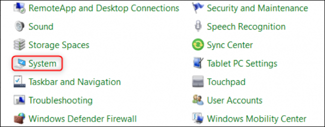 """Select """"System"""" in the Control Panel"""