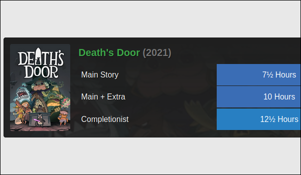 Death's Door game cover on a black background with blue rectangular tiles showing gameplay lenght in hours.
