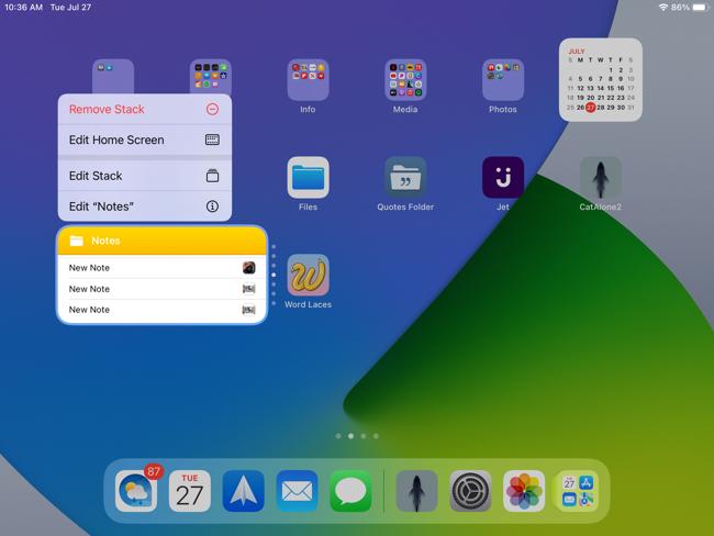 Edit a widget, Smart Stack options